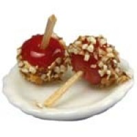 Dollhouse Miniature Candy Apples on Plate - Product Image