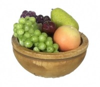 Dollhouse Filled Wooden Bowl with Fruit - Product Image