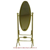 § Sale $6 Off - Dollhouse Brass Oval Cheval Mirror - Product Image