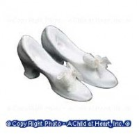 Sale .60¢ Off - White Bridal Pumps with Bows - Product Image