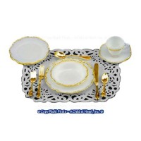Place Setting Gold Trim (10 pc) - Product Image