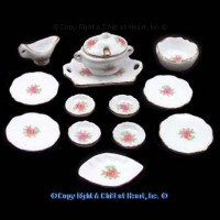 § Sale $1.50 Off - Dollhouse Rose Dinner Set - Product Image