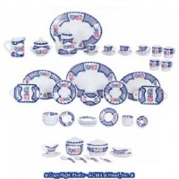 Dollhouse 50 pc Dish Set - Blue & Rose Pattern - Product Image