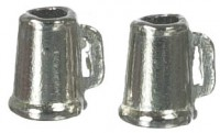 2 pc Dollhouse Pewter Beer Mugs - Product Image