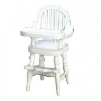Dollhouse White Spindle Highchair - Product Image
