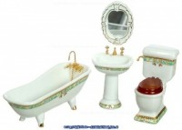 Green & Gold Porcelain Bath Set - Product Image