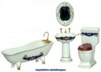§ Disc $10 Off - Blue & Gold Porcelain Bath Set - Product Image