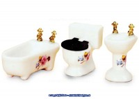 § Disc $3 Off - Dollhouse Half Scale Floral Bathroom - Product Image