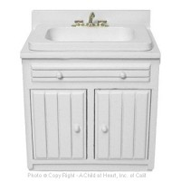 Disc. $2 Off - Dollhouse White Ribbed Front Sink - Product Image