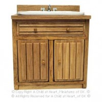 Dollhouse Oak Ribbed Front Sink - Product Image