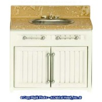 Dollhouse Modern White & Marble Sink - Product Image