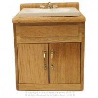 Sale $3 Off - Dollhouse Modern Sink - Oak - Product Image