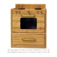 () Sale $2 Off - Dollhouse Modern Oak Stove - Product Image