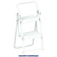 (*) Dollhouse White Kitchen Folding Step Stool - Product Image