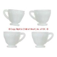 § Sale .20¢ Off - 4 Dollhouse White Dinner Cups - Product Image