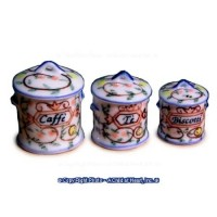 Dollhouse Miniature Three Canisters in White by Falcon Miniatures