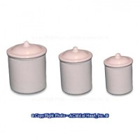 § Sale $1 Off - Dollhouse White Metal Canisters - Product Image