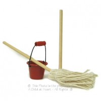 § Sale .40¢ Off - Dollhouse Cleaning Bucket & Mops - Product Image