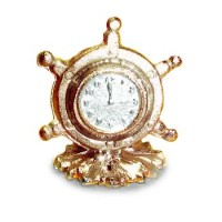 (*) Dollhouse Ship's Wheel Clock - Product Image
