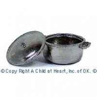 § Sale $1 Off - Dollhouse Silver Stock Pot w/Lid - Product Image