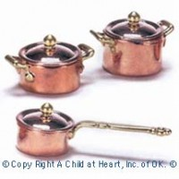 Dollhouse 3 pc Copper Pots with Lids - Product Image