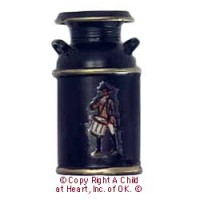 Dollhouse Black Milk Can w/Decal - Product Image