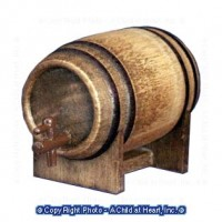 (**) Dollhouse Aged Beer Barrel - Product Image