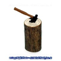Dollhouse Stump with Ax - Product Image