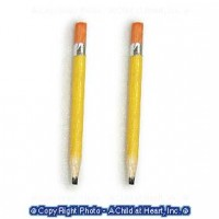 (*) Set of 2 Dollhouse School Wooden Pencils - Product Image
