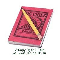 § Sale .60¢ Off - Dollhouse Chief Tablet & Pencil - Product Image