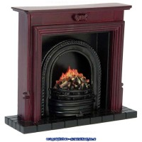 (**) Dollhouse Fireplace with Insert - Mahogany - Product Image