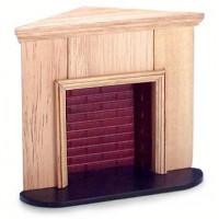 Dollhouse Corner Oak Fireplace - Product Image