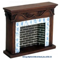 Dollhouse Brown Resin Fireplace - Product Image
