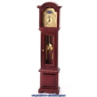 (*) Dollhouse Mahogany Quartz Grandfather Clock - Product Image