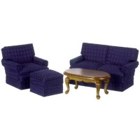 Dollhouse 4 pc Walnut & Blue Den Set - Product Image