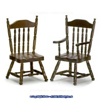 Dollhouse Walnut Spindle Back Chairs - Product Image