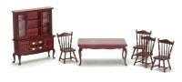 Dollhouse 6 pc Queen Qnne Mahogany Dining Set - Product Image