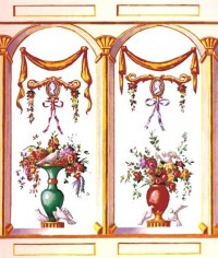 (§) Sale .70¢ Off - Dollhouse French Bouquet Mural- Choice of Color - - Product Image