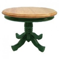 Dollhouse Round Pedestal Table - Green & Oak - Product Image