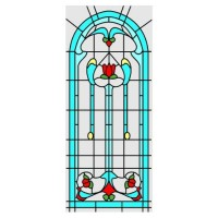 Simulated Floral Design Stain Glass Insert - Product Image