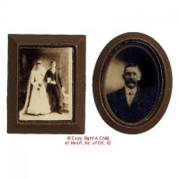 Dollhouse 2 pc Sepia Photos - Brown Frames - Product Image