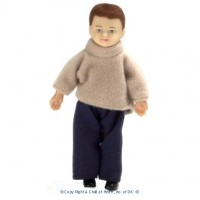 Sale $3 Off - Vinyl Doll - Modern Brunette Boy - Product Image