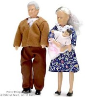 Sale $6 Off - Dollhouse Grandparents & Baby Set - Product Image