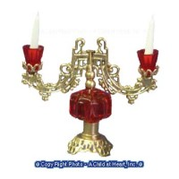 Red & Gold Candelabra - Non Electric - Product Image