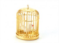 Dollhouse Brass Bird Cage with Bird - Product Image