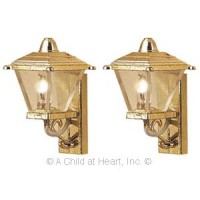 2 Dollhouse Gold Coach Light - Product Image