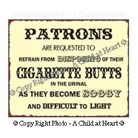 Dollhouse Bathroom Smoking Sign (Butts) - Product Image