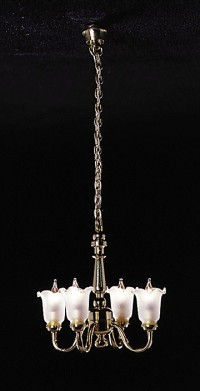 4 Up-Arm Frosted Shade Chandelier - Product Image