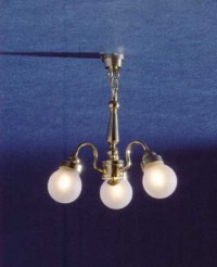 Dollhouse 3 Arm Frosted Globe Chandelie - Product Image