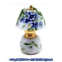 Dollhouse Non Working Blue & Green Floral Lamp - Product Image